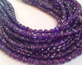 "Amethyst 6mm faceted round beads full 14"" strand"