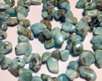 Dominican Larimar top drilled nuggets 7 inch strand awesome deal