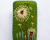 FB-127  -  Rectangle Shape Dandelion inspired handmade felt brooch - Olive