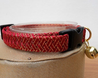 Red Cat Collar Breakaway in a Braided Ribbon Style