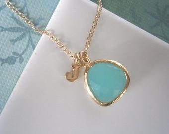 Personalized Necklace, Mint Aqua Necklace, Letter Necklace, Initial Necklace, Pendant Necklace,