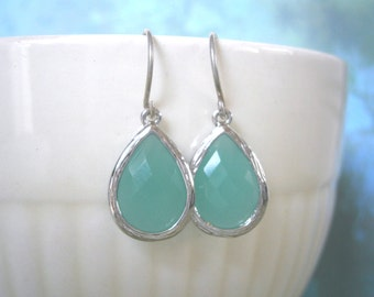 Aqua Blue Earrings, Mom Gift, Silver Earrings, Bridesmaid Earrings, Wedding, Best Friend Gift, Holiday Gift