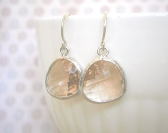 Sale, Blush Earrings, Blush Champagne, Silver Earrings, Mom Gift, Wife Gift, Bridesmaid, Best Friend