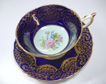 Paragon fine bone china cup and saucer / indigo blue / teacup plate / royal blue / gold / flowers / footed / pink / England / Mother / gift