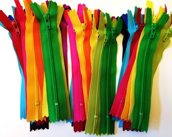 5 inch YKK zippers, brights, 36 pcs, black, royal blue, turquoise, bright aqua, red, hot pink, sunflower, orange, yellow, fuchsia, green