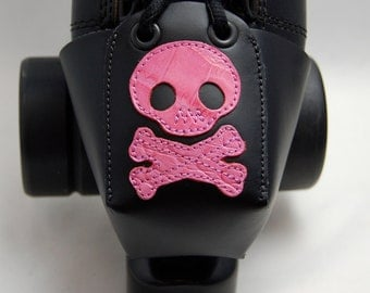 Leather Toe Guards with Pink Gator Skulls and Crossbones