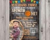 Digital First Birthday Chalkboard Style Basketball Birthday Party Invitation DIY Printable