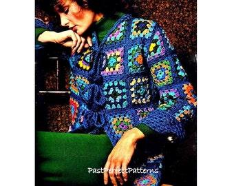 INSTANT DOWNLOAD PDF Vintage Crochet Pattern   Granny Squares Jacket Wrap Coat  1970s Retro