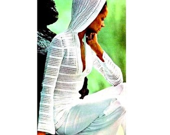 INSTANT DOWNLOAD PDF Vintage Crochet Pattern  1970s Hooded Tunic Pullover Beach Cover Up   Retro Plus Free Vintage Pattern