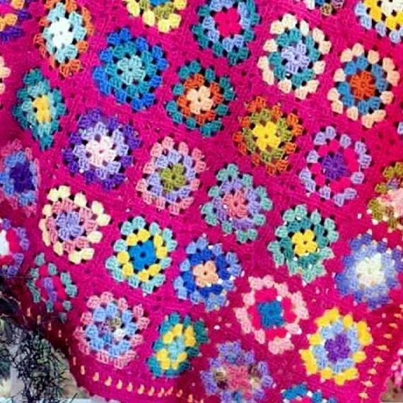 ... Crochet Pattern Raspberry Granny Squares Afghan Throw Blanket Retro