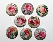 Classic Roses - Set of 8 Pinback Buttons Badges 1 inch