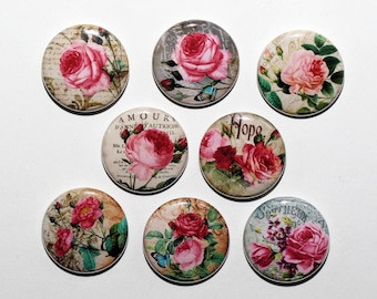 Classic Roses - Set of 8 Pinback Buttons Badges 1 inch - Flatbacks or Magnets