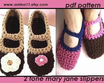 INSTANT DOWNLOAD Crochet Pattern PDF 75- Mary Jane Slippers- Beginner Level, women's size 5 to 12.