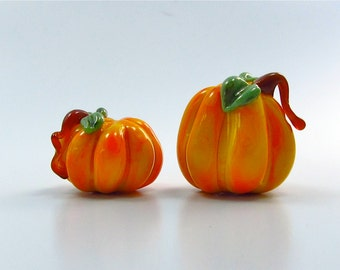 Pumpkin Bead Duo - Handmade Lampwork Glass Beads - SRA