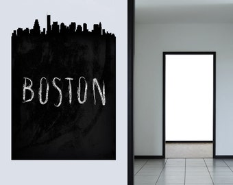 Boston Skyline Chalkboard Wall Decal