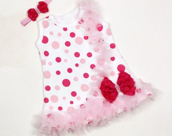 Pink and White Baby Dress Sale Free Headband + Free Shipping