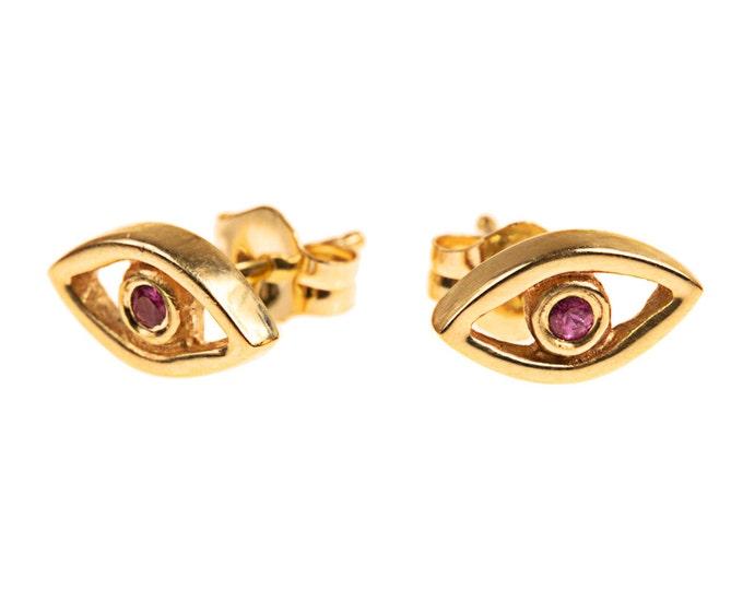 14k Gold Evil Eye Stud Earrings with Rubies