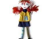 Pippi Longstocking Hand Puppet -Anne of Green Gables or Gabby Hand Puppet - Custom Made