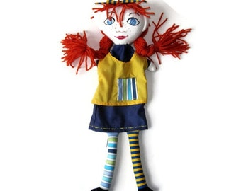 Pippi Longstocking Hand Puppet -Anne of Green Gables or Gabby Hand Puppet - Custom Made