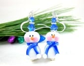 Snowman Earrings, Holiday Jewelry, Blue White Earrings, Christmas Earrings, Holiday Earrings, Lampwork Earrings Glass Earrings Winter & Snow