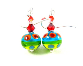 Colorful Glass Earrings, Red Yellow Blue Green Earrings, Lampwork Earrings, Bright Color Beadwork Earrings, Primary Color Earrings - Vibrant