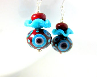 Funky Earrings, Red & Turquoise Blue Earrings, Lampwork Earrings, Glass Earrings, Ruffle Earrings, Unusual Earrings, Red Earrings - Bullseye