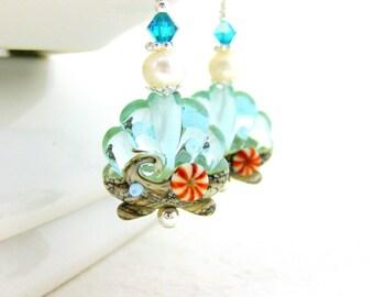 Seashell Earrings, Beach Jewelry, Aqua Earrings, Ocean Earrings, Lampwork Earrings Beach Earrings Blue Green Earrings Ocean Jewelry Nautical