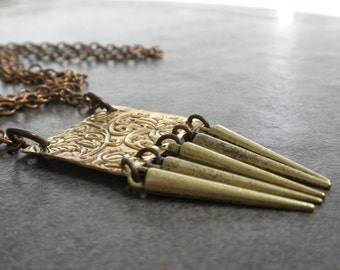 Long Layering Necklace Bohemian Jewelry Brass Spikes