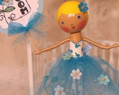 Unforgettable - Forget-Me-Not Ballerina Clothespin Doll