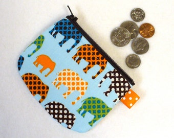 Boys Mini Coin Purse Urban Circus Elephants Zipper Change Purse Handmade Blue Orange Green Brown Robert Kaufman MTO