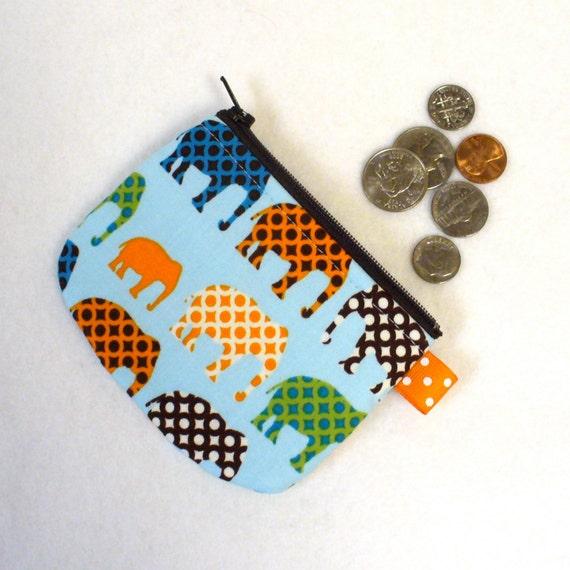 Boys Mini Coin Purse Urban Circus Elephants Zipper Change Purse Handmade Blue Orange Green Brown Robert Kaufman MTO