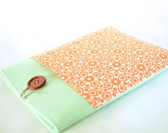 "13"" MacBook Sleeve Custom Laptop Case for 11"" MBA, New 12"" MacBook Retina Display, 13"" MacBook Air, Padded with Pocket - Tangerine Damask"