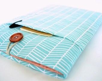 iPad Case, iPad Pro Sleeve, iPad Air Cover, Amazon Fire HDX 7, Galaxy Tab, Custom Size Tablet Sleeve, Padded with Pocket - Blue Herringbone
