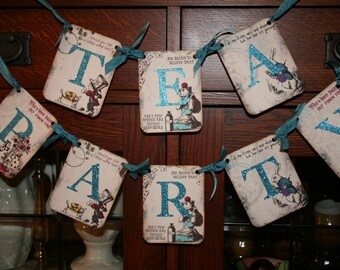 Tea Party  Banner, Alice in Wonderland.