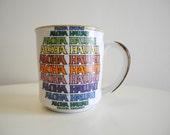 Aloha HAWAII retro font 60s / 70s RAINBOW mug