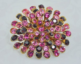Vintage Unsigned Shades of Pink and Red Rhinestone Cushion Brooch