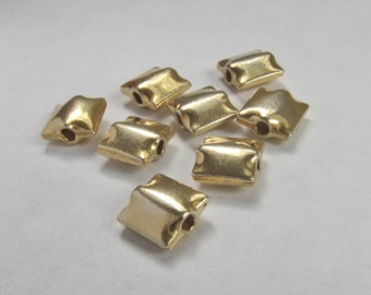 Square Gold Plated Pillow Beads - (8)