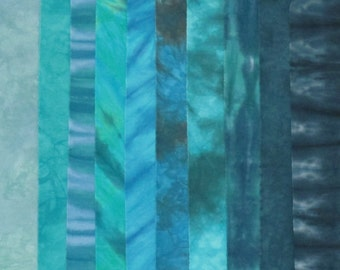Hand Dyed Fabric OCEAN CURRENTS Stash Pack - 10 Fat Eighths