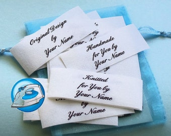 Qty 27 - 1 x 2 1/2 Inch Iron On Cotton Custom Clothing Fabric Labels
