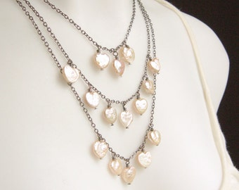 Bridal Bib Necklace Pale Pink Freshwater Pearl Heart Wedding Tiered  - Much Love.