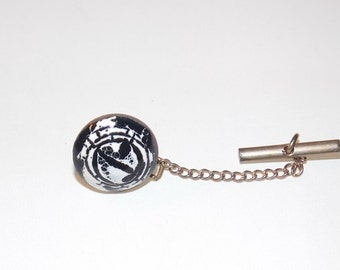 Vintage Black and White Enamel over Copper Tie Tack