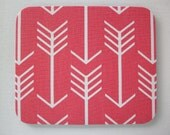 Mouse Pad mouse pad / Mat - Coral white arrows round or rectangle office accessories desk home decor