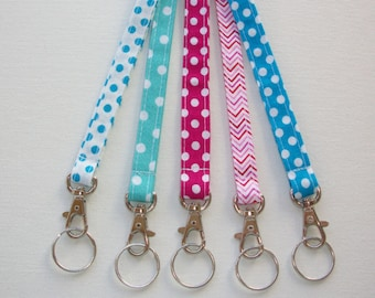 Lanyard  ID Badge Holder - NEW THINNER design  - Lobster clasp and key ring - polka dots chevron