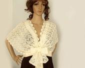 Knit capelet, Lace knit shawl, Bridal wedding cape, Knit shawl, Victorian capelet, Shoulderette, Wool mohair,