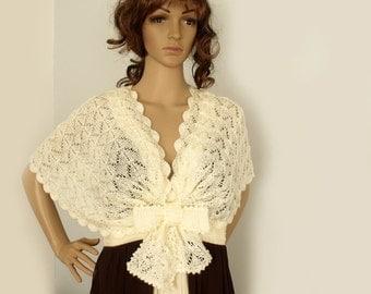 Bridal cape, Wedding cape, Knit cape, Lace knit shawl, Knit shawl, Victorian cape, Shoulderette, Wool mohair, Ivory cape, Cream white cape