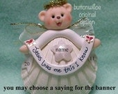 Scallop Shell Teddy Bear Angel Christmas Ornament Personalized on Banner and Star