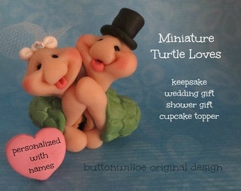 Itty Bitty Turtle Wedding Topper Miniature Cupcake Topper Personalized Heart Approximately 1 1/2 inches tall