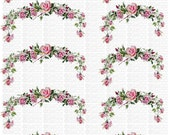 Instant Digital Download Cottage Pink Roses Swag Rose Buds Flowers Floral Vintage Era Clip Art Transparent Background PNG - U Print ECS