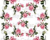 Instant Digital Download Cottage Pink Roses Flowers Vintage Era Transparent Background PNG - U Print ECS
