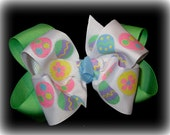 Easter Hair Bow, Girls Easter Hairbows, Easter Egg Hairbow, Boutique hair Bow, Large Easter Bow, Pastel Easter hair Bows, Easter Headband,